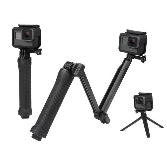 Bastão 3 Way para GoPro Câmeras Similares - Bastão de Mão + Extensor + Tripé