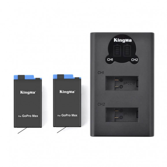 Carregador Duplo + 2 Baterias para GoPro MAX - KingMa