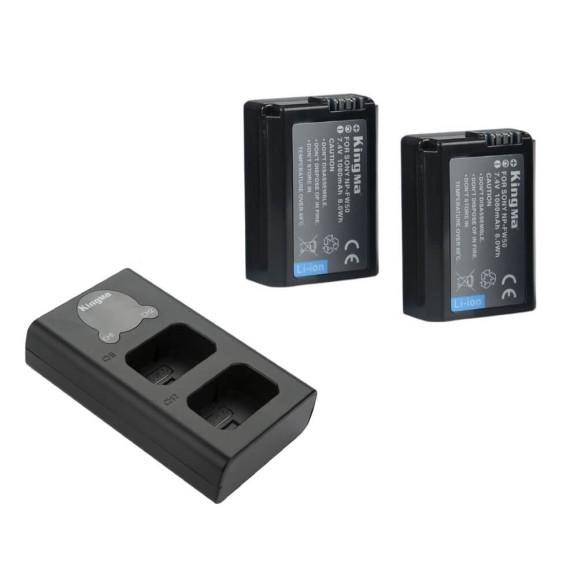 Carregador Duplo + 2 Baterias NP-FW50 para Câmeras Sony - KingMa