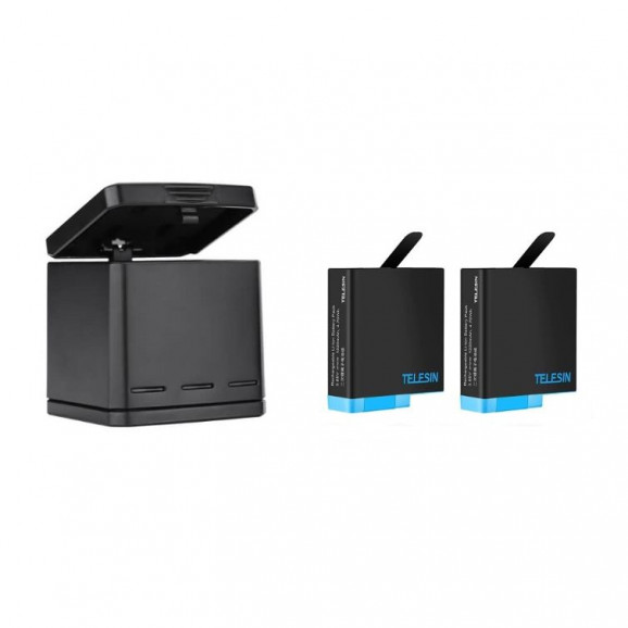 Carregador GoPro Hero 5 6 7 8 Black - Carregador Triplo + 2 Baterias Telesin