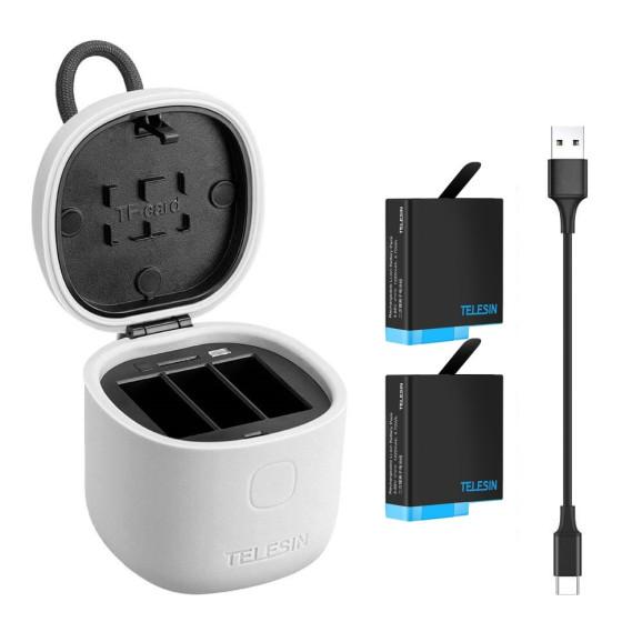 Carregador para GoPro Hero 8 7 6 5 Black + 2 Baterias Extras Telesin