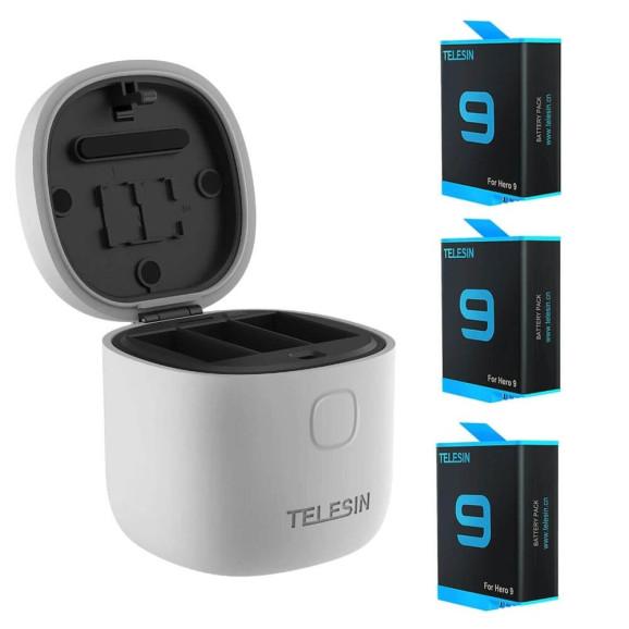 Carregador Triplo para GoPro Hero 9 Black + 3 Baterias Extras - Telesin