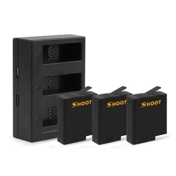Carregador Triplo GoPro Hero 5 6 7 8 Black + 3 Baterias Extras Shoot