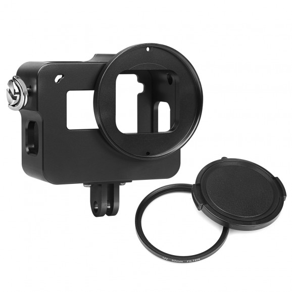 Case de Alumínio e Lente UV 52mm para GoPro Hero 5 6 7 Black