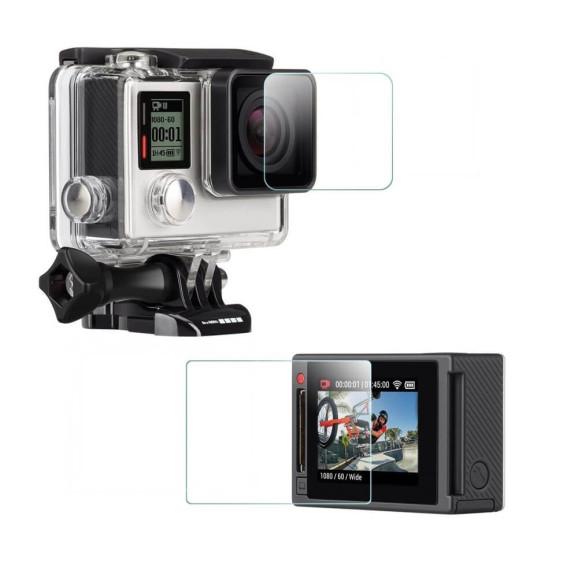 Conjunto Películas para Tela Lcd e Caixa Estanque GoPro Hero 4 Silver