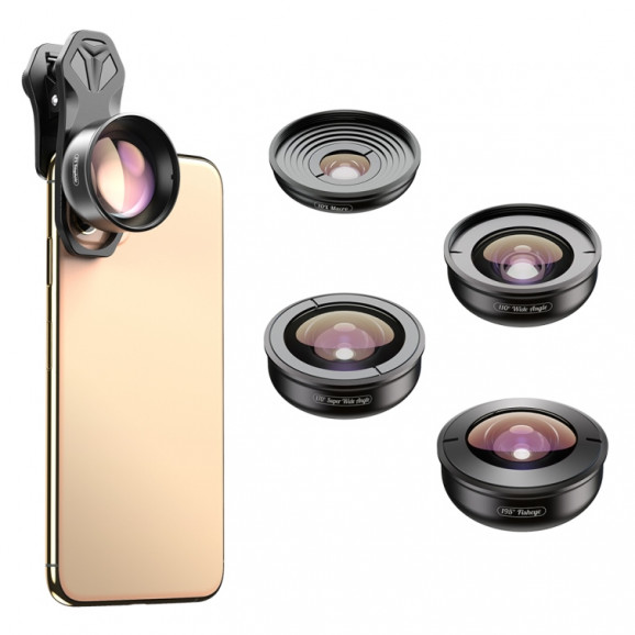 Kit de Lentes para Celular Apexel - Wide / Superwide / Macro / Telefoto / Fisheye