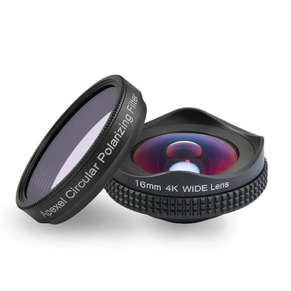 Kit Lente Grande Angular 16mm para Celular + Filtro CPL - Apexel