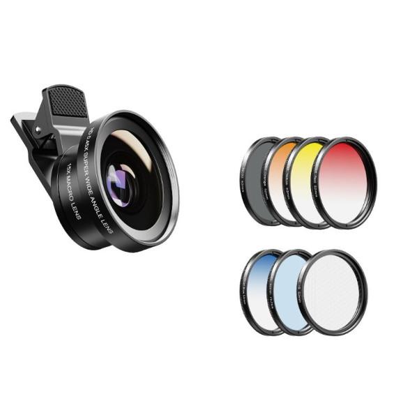 Kit Lente Grande Angular e Macro para Celular + 7 Filtros Diversos 52mm - Apexel