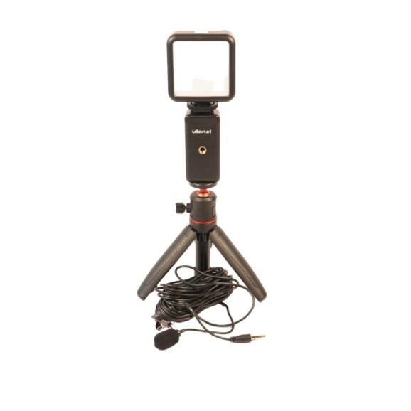 Kit Live - Tripé para Celular + Luz de Led + Microfone de Lapela