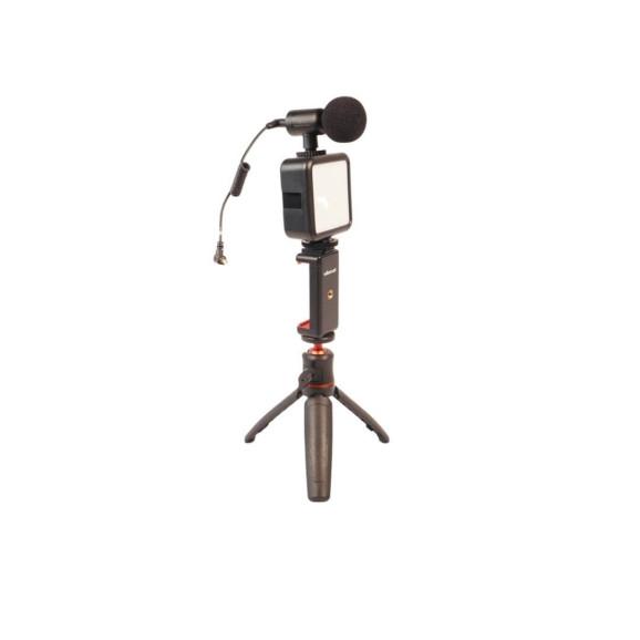 Kit Live - Tripé para Celular + Luz de Led + Microfone Externo