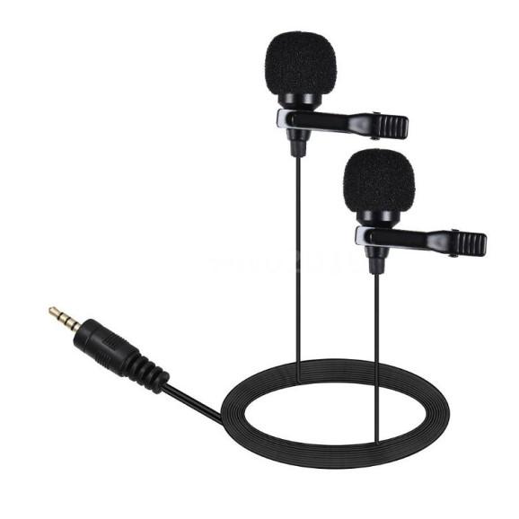 Microfone Duplo de Lapela para GoPro / Câmeras DSLR / Celular - AriMic
