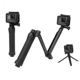 Bastão 3 Way para GoPro e Câmeras Similares - Bastão de Mão + Extensor + Tripé