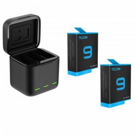 Carregador Triplo com 2 Baterias GoPro Hero 9 Black - Telesin