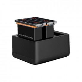 Carregador Triplo + 2 Baterias para Câmera DJI Osmo Action Telesin