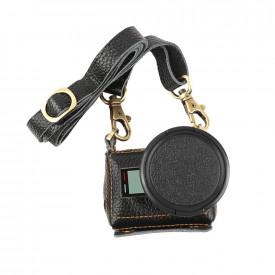 Case Retrô Couro Lente Filtro UV 52mm GoPro Hero 5 6 7 Black Cor Preta