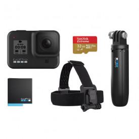 Kit GoPro Hero 8 + Cartão 32GB + Bateria Extra + Suporte Cabeça + Bastão Shorty