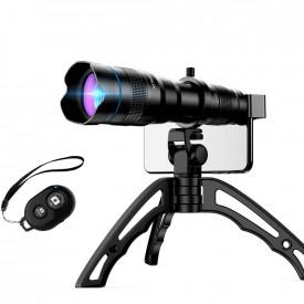 Kit Lente Telefoto 36X para Celular + Tripé + Controle Disparador Apexel