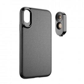 Lente Olho de Peixe e Telefoto + Case para iPhone XS Max Apexel