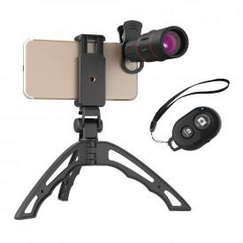 Lente Telescópica para Celular 18X com Tripé e Controle Disparador Apexel