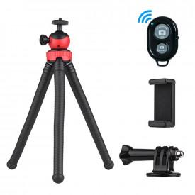 Tripé Flexível para Celular / GoPro / Câmeras DSLR + Controle Remoto Bluetooth